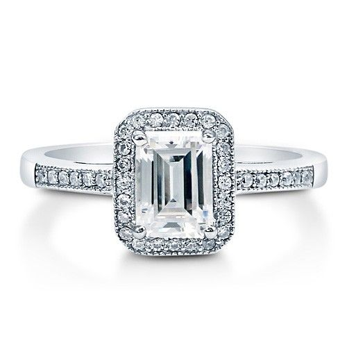 Emerald Cut Cubic Zirconia CZ 925 Sterling Silver Halo Ring 1.06 Ct #BerriclePinToWin for a $500 Shopping Spree! Enter here >>http://www.berricle.com/giveaway #PintoWin #Sweepstakes #Berricle #Rings #Style #Fashion #Bling #JewelrySweepstakes