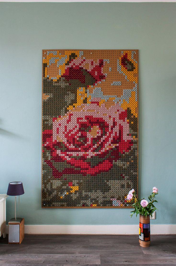 """An """"XXL Cross-Stitch"""" Artist's Vibrant Dutch Home"""