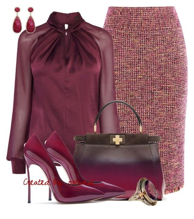 """""""Ina"""" by rotwein ❤ liked on Polyvore featuring Karen Millen, Fendi, Casadei and Susan Hanover"""