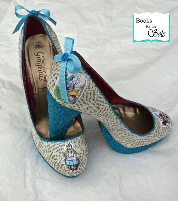 Custom Alice in Wonderland High Heel Glitter Decoupage Literary Shoes