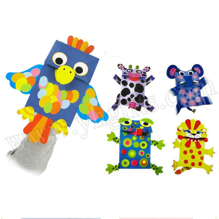 5 design/Lot.Paper bag puppets craft kit,Paper crafts.Kids toys,Early educational toys,Family fun,Hand puppet.Gift for children.