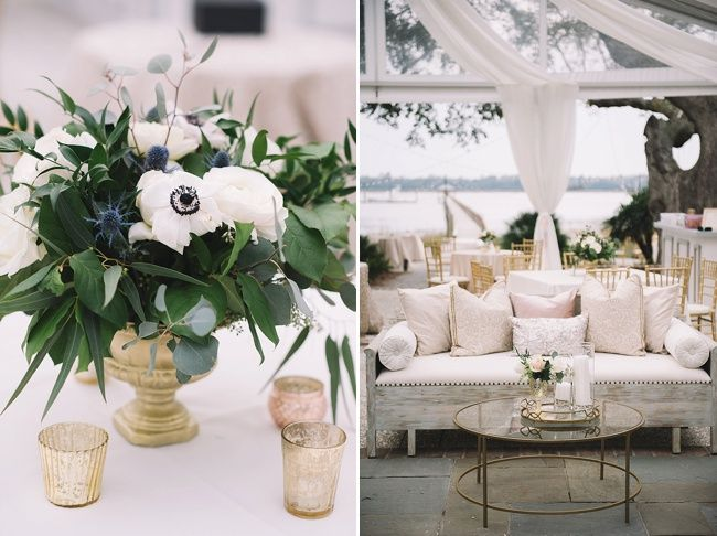 Anna & Woody's gorgeous floral and lounge design at their historic Lowndes Grove Plantation wedding | Charleston, SC | Real wedding featured on The Wedding Row | Winter Wedding Inspiration | Photo by Jennings King Photography | Florals by Stephanie Gibbs Events