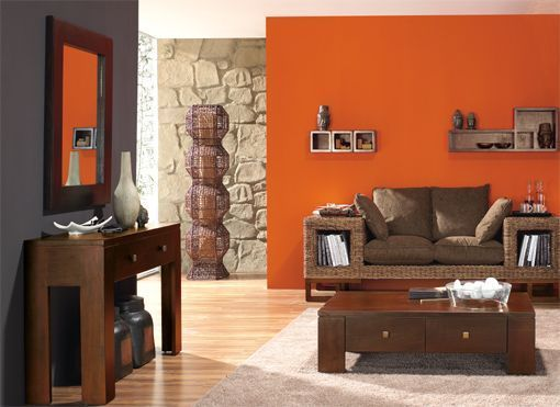 C mo decorar salas de color naranja decoracion de for Decoracion para pared naranja