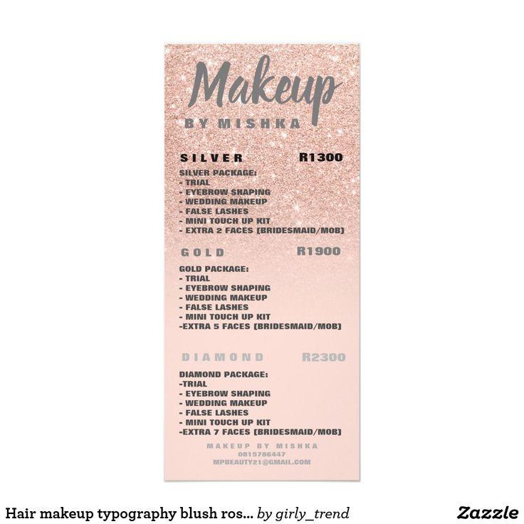 Hair makeup typography blush rose gold price list rack card