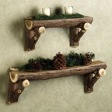 Rustic Timber Log Wall Shelf from Touch of Class. These are resin, but real log shelves would be cool. Love the idea.