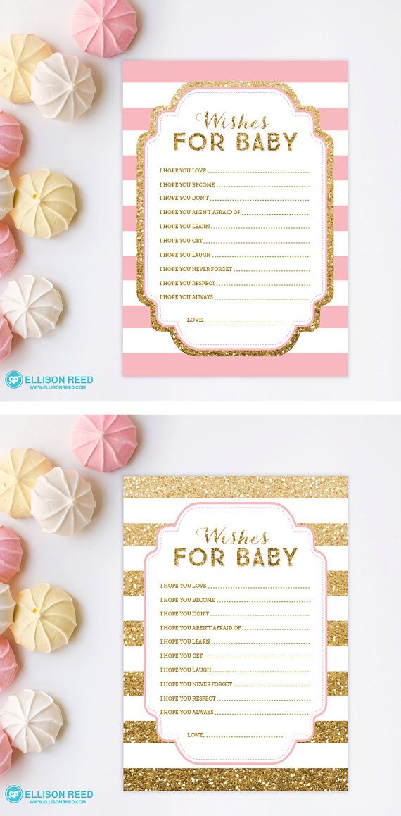 Gold Baby Shower wish card Pink and Gold Baby by EllisonReed