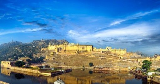 Amber fort in Rajasthan. Ancient indian palace architecture | India