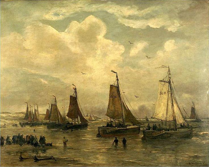 Hendrik Willem Mesdag (1831-1915) Reisklaar maken van de schepen voor het strand van Scheveningen. De lijnhalers hebben de lijnen van de ankers op het strand losgemaakt. De bomschuiten en pinken liggen gereed om bij opkomende vloed weg te zeilen. De vissersvrouwen wensen de vissers een behouden vaart en een goede vangst.