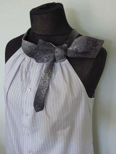 *by GarageCoutureClothes / could also use neckties as armskye bindings since you'd usually use bias tape, and ties are normally cut on the bias; may be cuter with buttons up the back.