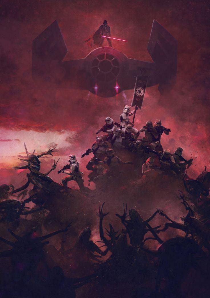 Dos universos de ciencia ficción comisionan en tu celebro con las ilustraciones de Guillem H. Pongiluppi. Aliens VS Darth Vader
