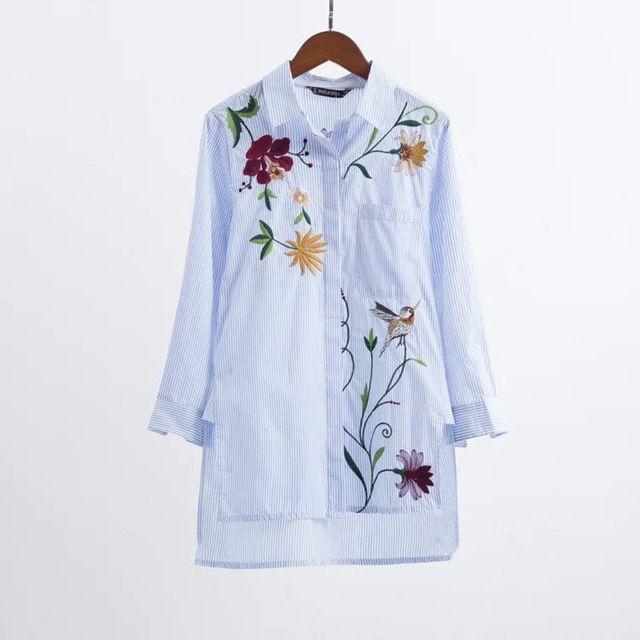 Mulheres Bordados Blusa de Algodão Solto Camisa de Manga Longa Turn-down Colarinho Azul Branco Listrado Tops Camisas femininas 2016