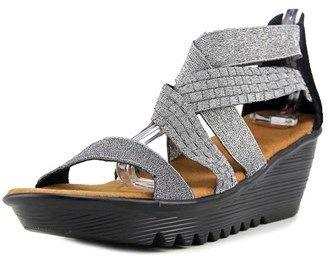 Bernie Mev. Luscious Women Open Toe Synthetic Silver Wedge Sandal.
