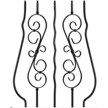 Best Solid Scroll Wrought Iron Staircase Iron Stair Railing 400 x 300