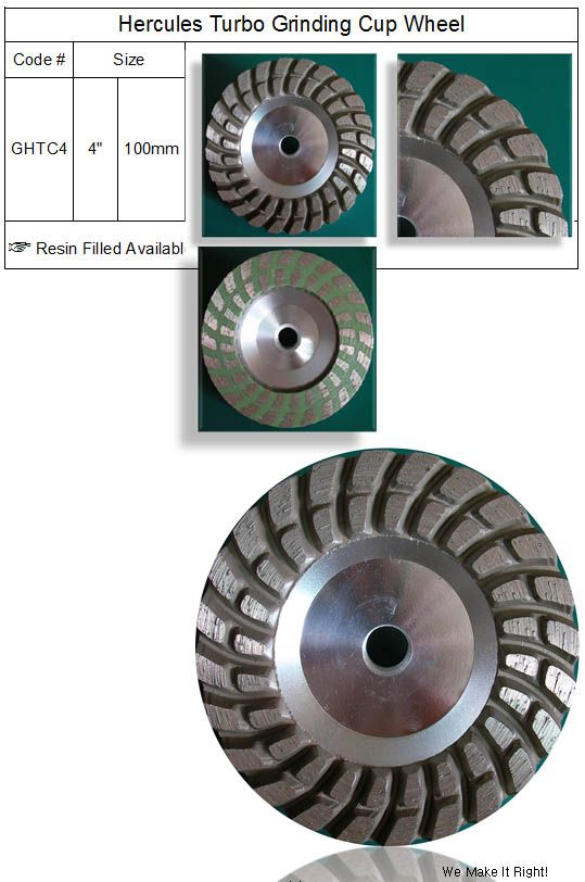 Hercules Turbo Grinding Cup Wheel made by RM Tech Korea (StoneTools Korea®) provides the highest quality; world top selling more than 500 sets monthly