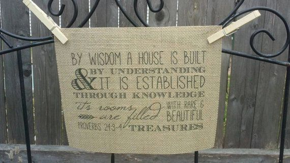 Bible Verse Burlap Print - Proverbs 24:3-4 -  By Wisdom a House is Built - Subway Art - Typography - Wall Decor
