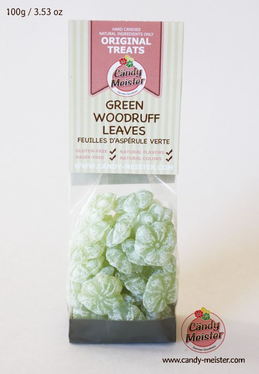 Green Woodruff Leaves contain only natural, gluten, and dairy free ingredients. High quality natural woodruff extract gives this candy a rich fragrant, herbal flavor. When dissolved in hot water, this candy turns into a naturally sweetened, mild herbal tea.