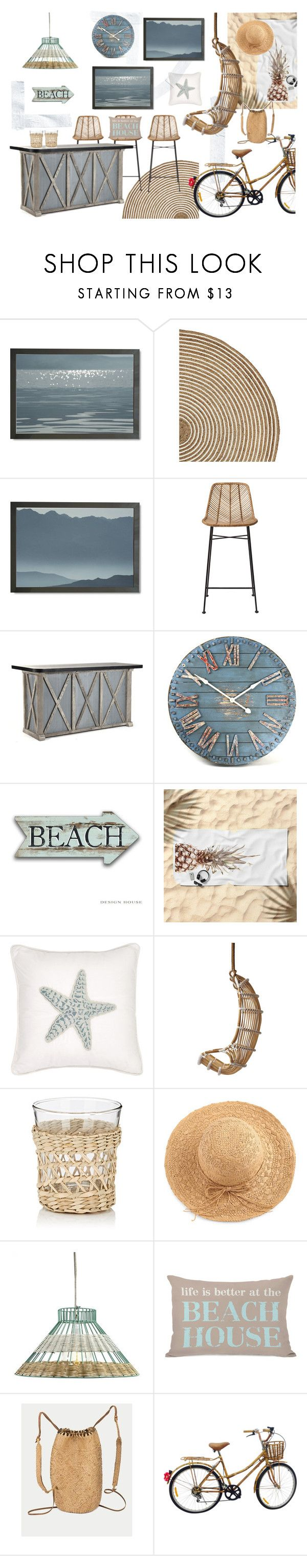 Beach House by kacix on Polyvore featuring interior, interiors, interior design, home, home decor, interior decorating, Zentique, Bloomingville, Holly's House and Serena & Lily
