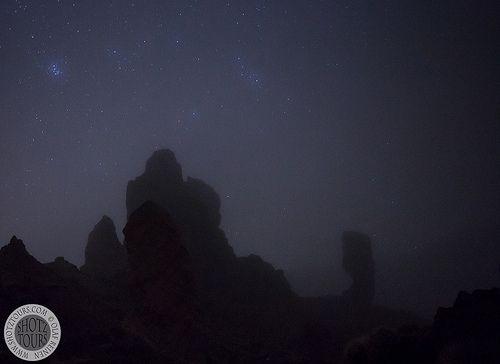 Foggy night on Mt Teide, Tenerife