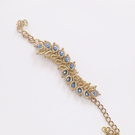 Gold lace bracelet tatted bracelet beaded bracelet by LaceLounge