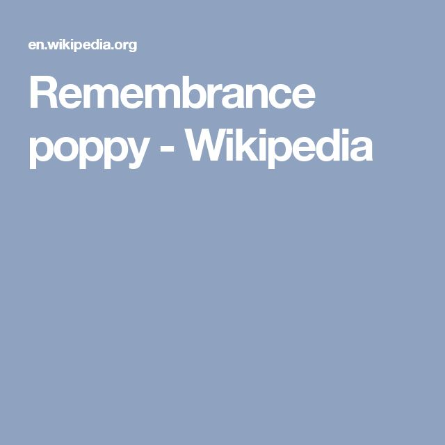 Remembrance poppy - Wikipedia