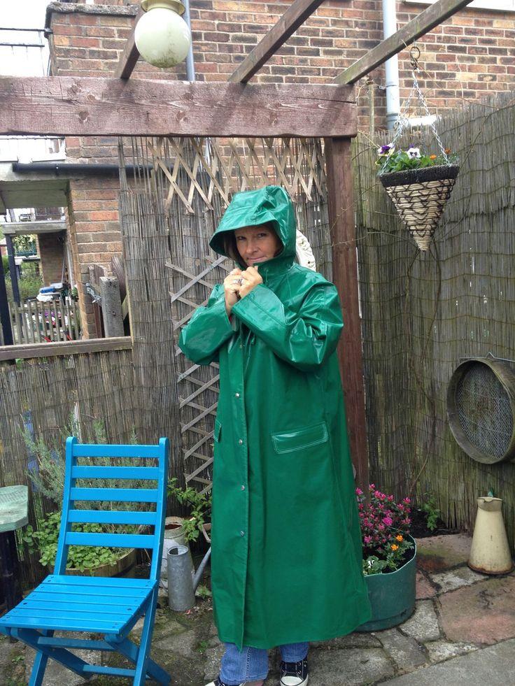 Green PVC Hooded Raincoat