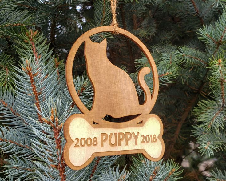 Cat Christmas Ornament, Personalized Cat Memorial Ornament
