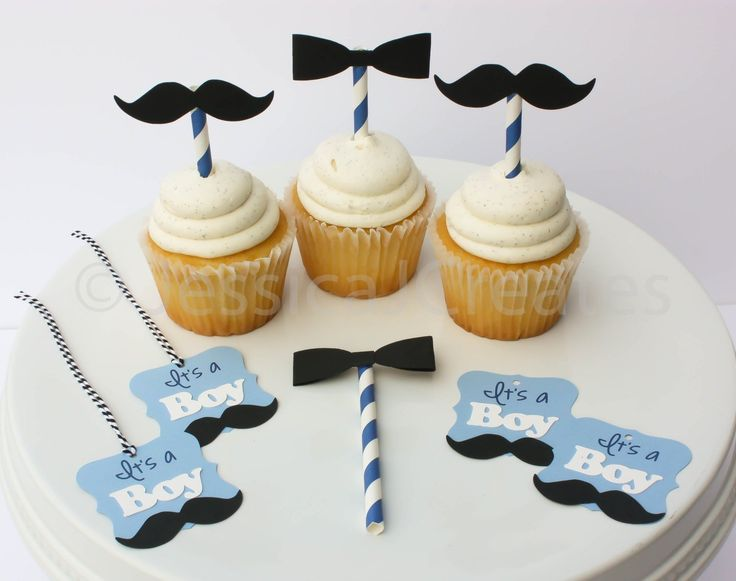 """Mustache Cupcake Toppers - Mustache Party Tags - Little Man Baby Shower - Bow Tie Cupcake Toppers - Little Man Party Theme. This listing is for mustache and bow tie cupcake toppers; plus party favor tags. In this set you will get 6 mustache cupcake toppers, 6 bow tie cupcake toppers and 12 """"It's a Boy"""" tags. All together this is a 24 piece set. ***Custom request are always welcomed***."""