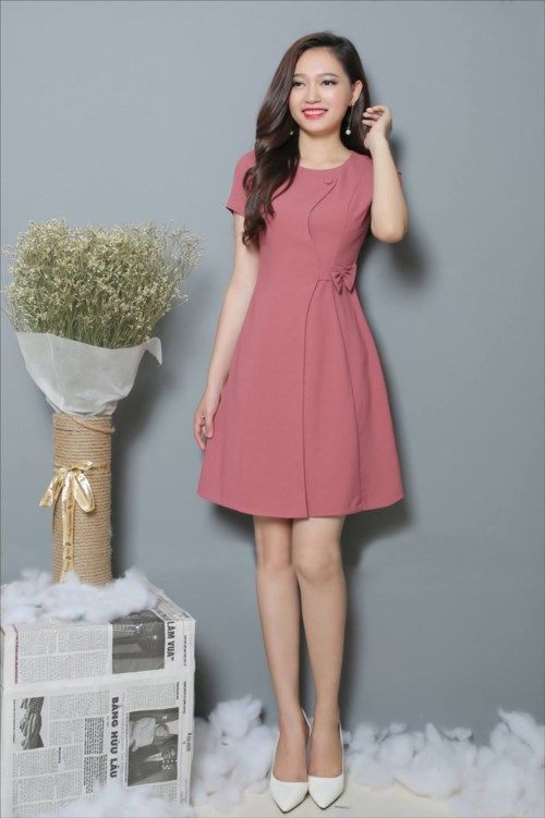 damvaydep.net - Đầm xòe tay con nơ eo màu hồng