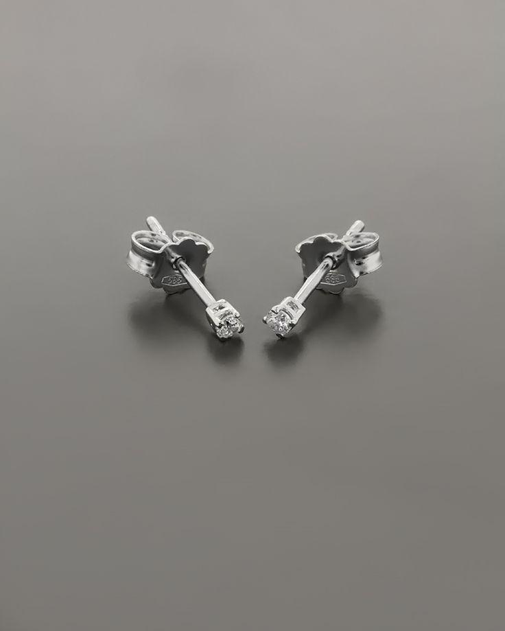 Σκουλαρίκια λευκόχρυσο Κ14 με Ζιργκόν