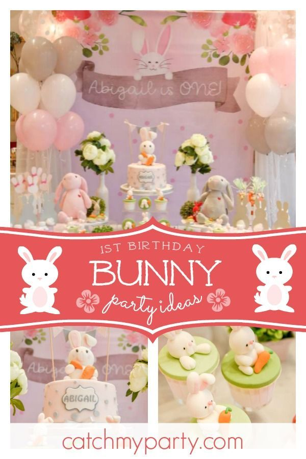 Take A Look At This Beautiful Bunny Themed 1st Birthday Party The Dessert Table Bunny Birthday Party 1st Birthday Party For Girls Easter Themed Birthday Party