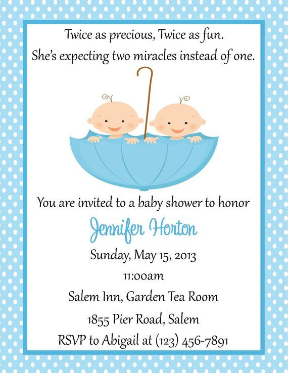 Twin Baby Shower Invitation   (Digital File)