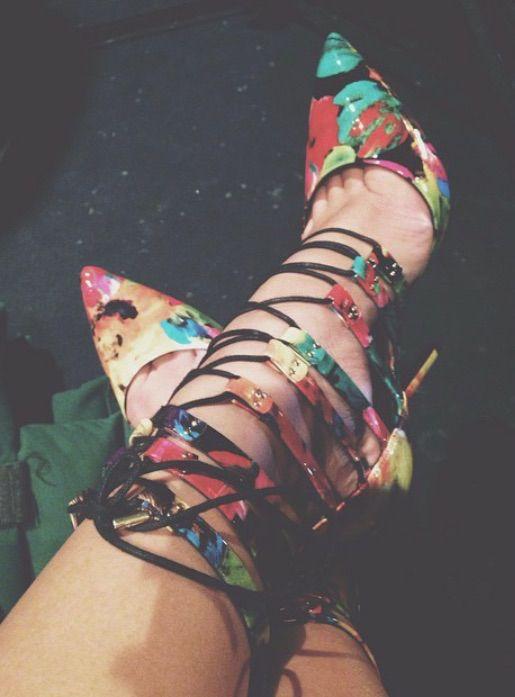Multi-colored strappy shoes