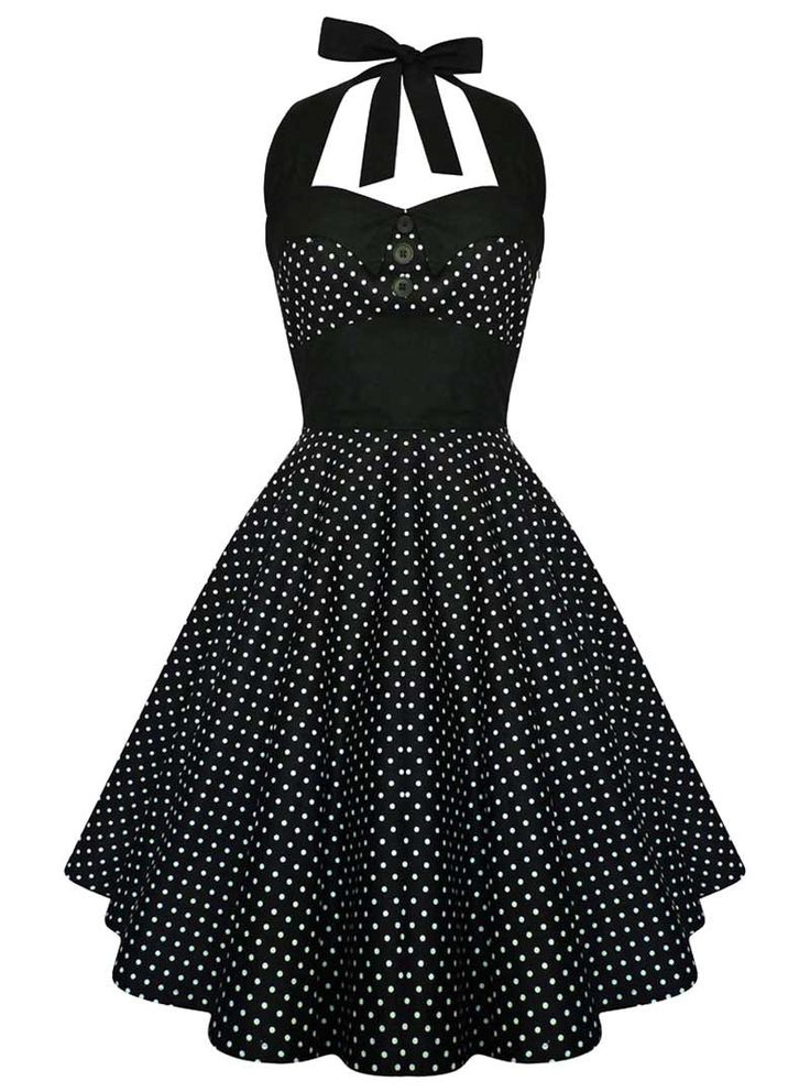 "Robe Retro Vintage Rockabilly ""Ashley Black White mini polka dots"" - rockangehell.com"