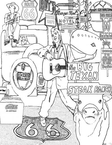 route 66 icons coloring page download route 66 pinterest