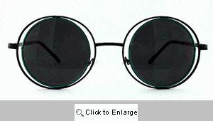 Arcane Round on Round Metal Sunglasses - 223 Black/Green