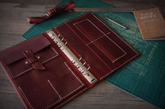 Leather Ring Binder Portfolio Journal, Hand Stitched Leather Diary Book, Notebook Covers, A5 Paper Notebook, Conference Portfolio - Burgundy