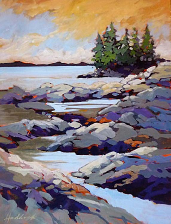 "Western Light at Chersterman Beach by Perry Haddock 18"" x 14"" Acrylic on Canvas"