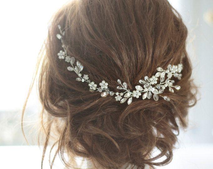 Copricapo, pezzo di capelli nuziale di cristallo, Cristal e perla copricapo da sposa, capelli nuziali Halo, cristallo e perla nozze capelli pezzo.