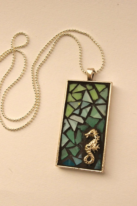 Green Glass Seahorse Mosaic Pendant by camillaklein