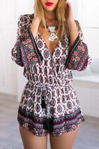 Ethnic Plunging Neck Tribe Print Long Sleeve Romper For Women Jumpsuits & Rompers   RoseGal.com Mobile