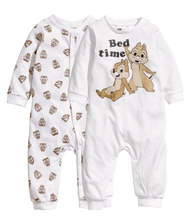 H&M x CHIP AND DALE DISNEY 2 PACK SLEEPSUITS PYJAMAS