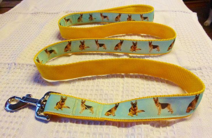 German shepherd custom print ribbon lead on yellow webbing $20