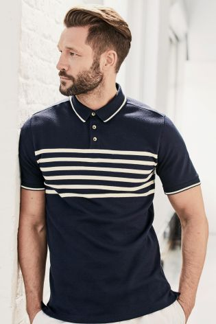 Buy Navy Chest Stripe Poloshirt online today at Next: United States of America