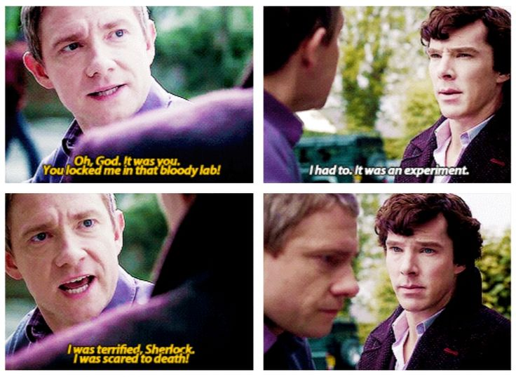 Sherlock: I really think John should have been a bit angrier about this. I don't care about your puppy dog eyes, Sherlock! (gif)