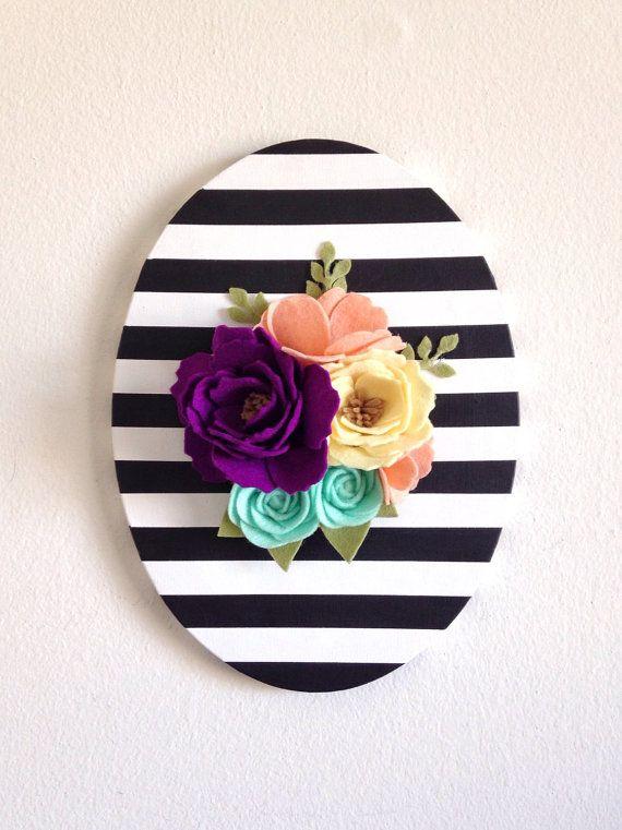 Felt Flower Sign Felt Flower Wall Art Felt Rose by thegreyrose