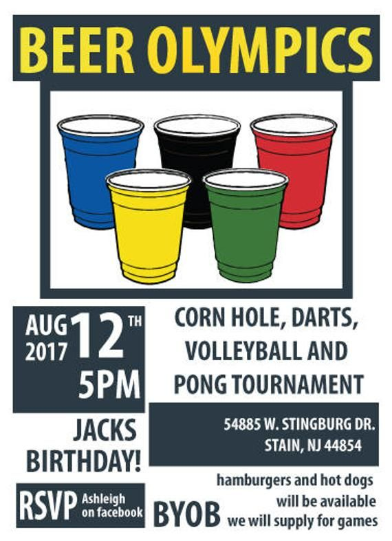 Beer Olympics Party Invitations | Carrie | Beer olympics