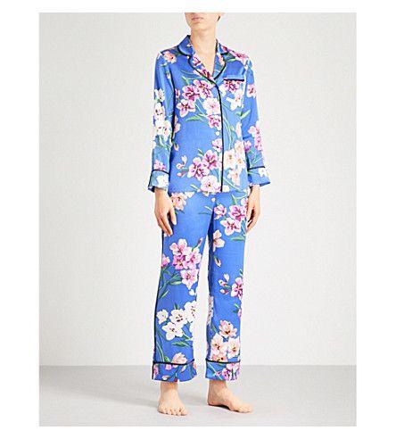 OLIVIA VON HALLE - Lila Briella silk-satin pyjama set   Selfridges.com