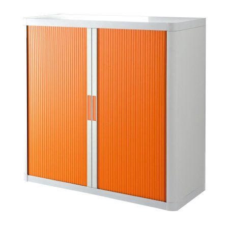 Paperflow easyOffice Storage Cabinet, 41 inch Tall with Two Shelves, White and Orange