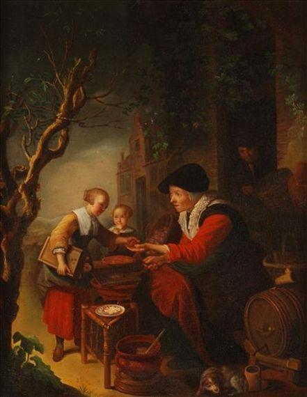Kopie. De pannenkoekenbakster. Jaar: ? Particulier bezit. Kopie van Gerard Dou: De pannenkoekenbakster. ca. 1650-1655