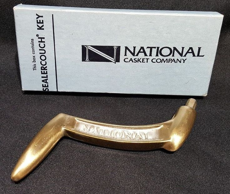 Vtg Funeral Casket Key Crank Sealercouch Brass Tone National Casket w/ Orig Box #NationalCasketCompany
